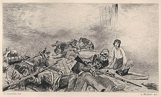 Gavroche - Gavroche singing while collecting cartridges from stricken government troops