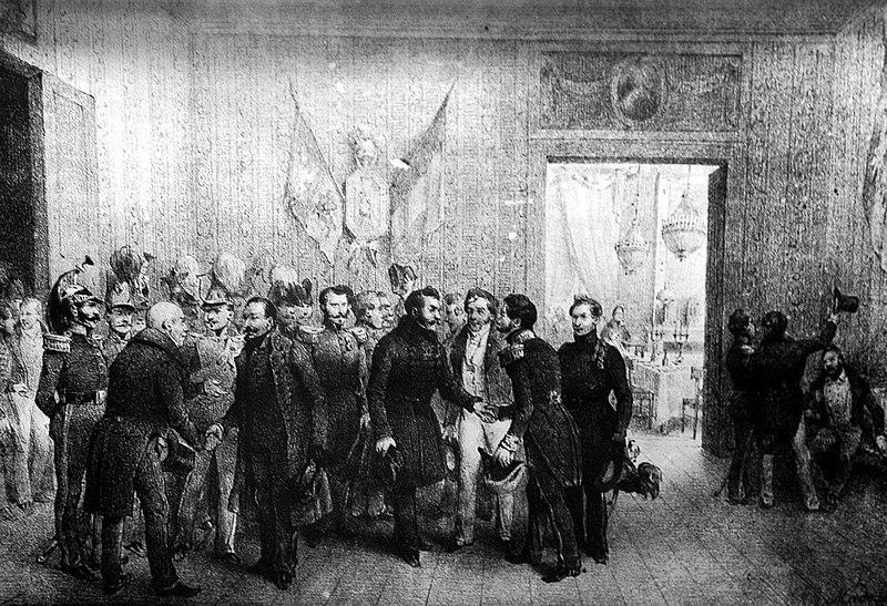 XIX-wieczna grafika przedstawiająca scenę powitania polskich emigrantów w Belgii