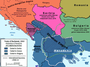 Albanian Vilayet - Disposition of territories occupied during Balkan Wars according to Treaty of Bucharest (1913)
