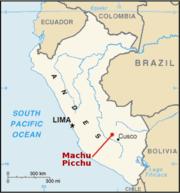 Location of Machu Picchu.