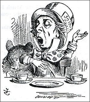 "Theophilus Carter - The Hatter as depicted by Tenniel, reciting his nonsense poem, ""Twinkle twinkle little bat"""