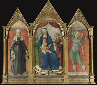 Master of Pratovecchio - Madonna and Child with Saint Bridget and the Archangel Michael, formerly in the Getty Collection