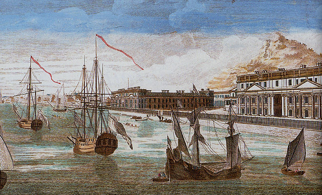 A view of Pondicherry in the late 18th century Magasins de la Compagnie des Indes a Pondichery.jpg