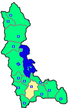Location of Mahabad County in West Azerbaijan Province.