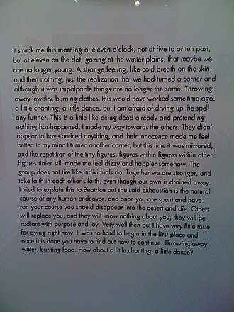Mai-Thu Perret - A photo of a framed text piece by Mai-Thu Perret. It is presented as an artifact from the project The Crystal Frontier