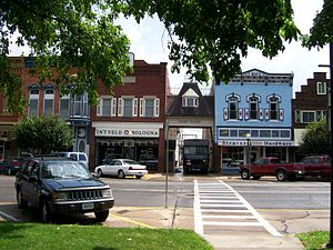 Pella, Iowa - Shops on Main Street in Pella illustrating Dutch architecture