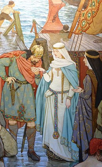 Saint Margaret of Scotland - Malcolm greeting Margaret at her arrival in Scotland; detail of a mural by Victorian artist William Hole