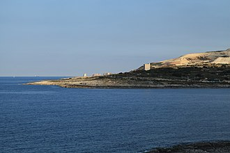 De Redin towers - View of Naxxar's coastline, with three De Redin towers visible (Għallis, St. Mark's and Madliena Towers)