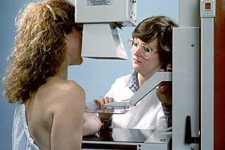 Mammography Process of using low-energy X-rays to examine the human breast for diagnosis and screening