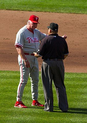 Appeal play - Charlie Manuel discusses a call with umpire Fieldin Culbreth.