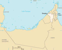 Location of Sharjah in the UAE