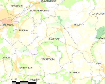 Map showing the location of La Martyre
