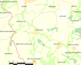 Mapa obce Courville