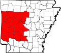 Map of Arkansas highlighting Western Arkansas.svg