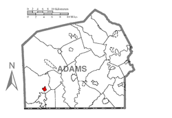 Map showing Fairfield in Adams County
