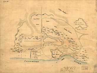Battle of Fort Henry - Relief map of Fort Henry, drafted by General Cullum w/ his notations