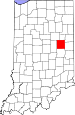 Map of Indiana highlighting Delaware County.svg