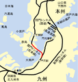 Map of Kammon railway tunnel ja.png