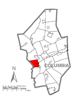 Map of Columbia County, Pennsylvania highlighting Montour Township