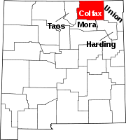Map of New Mexico highlighting Colfax County.svg