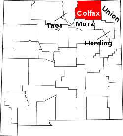 map of New Mexico highlighting Colfax County