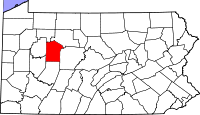 Map of Pennsylvania highlighting Jefferson County