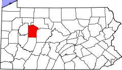Map of Pennsylvania highlighting Jefferson County.svg