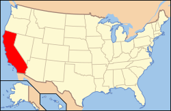 Map of the United States with California highlighted in red