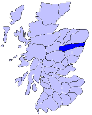 Marr - Map of Scotland showing the historic district of Mar