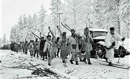 Finnish soldiers on the Raate Road[8][9] during the Winter War