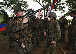 Marines chekcing Colombian RGB-6 Grenade Launcher.jpg