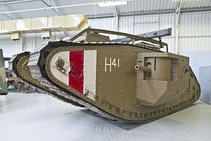 The Tank Museum - Male British Mark V. It saw action at the Battle of Amiens in August 1918.