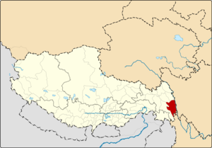 Location of Markam County within Tibet