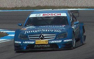 Maro Engel - Engel driving at Hockenheim in the 2008 Deutsche Tourenwagen Masters season.