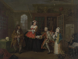 Quackery - William Hogarth's The Inspection, the third canvas in his Marriage à-la-mode (The Visit to the Quack Doctor)