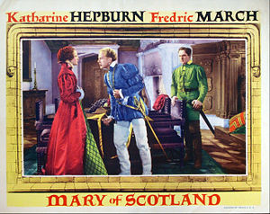 Mary of Scotland (film) - Lobby card with Katharine Hepburn, Douglas Walton, and Fredric March