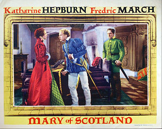 Mary of Scotland (film) - Lobby card with Katharine Hepburn, Douglas Walton, and Fredric March