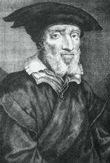 Black-and-white painting of bearded man in hat and 16th-century dress