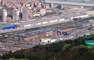 Barakaldo - New malls at both sides of the A-8 motorway, BEC is seen in the background.