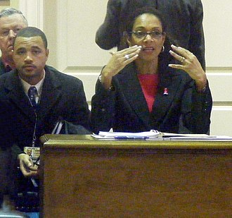 Sheila Dixon - Mayor Sheila Dixon addressing Baltimore's Annapolis delegation on  two Baltimore City gun related bills.