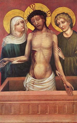 Master of the Bamberg Altar -  Man of Sorrows (c. 1420). Oil on wood, 116 × 75 cm. In the collection of the Germanisches Nationalmuseum. Formerly attributed to the Master of the Imhoff Altar, this painting is now believed to be by the Master of the Bamberg Altar