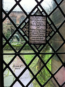 Memorial to George Leigh Mallory and Andrew Comyn Irvine in Chester Cathedral