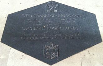 Roger Lumley, 11th Earl of Scarbrough - Memorial to Lawrence Roger Lumley, 11th Earl of Scarbrough in York Minster