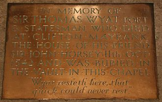 Thomas Wyatt (poet) - Memorial in Sherborne Abbey