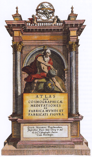 Atlas -  Frontispiece of the 1595 atlas of Mercator