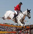 Meredith Michaels-Beerbaum na competição de saltos do hipismo por equipes nos Jogos Olímpicos Rio 2016.jpg