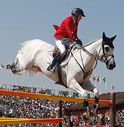 Meredith Michaels-Beerbaum na competição de saltos do hipismo por equipes nos Jogos Olímpicos Rio 2016