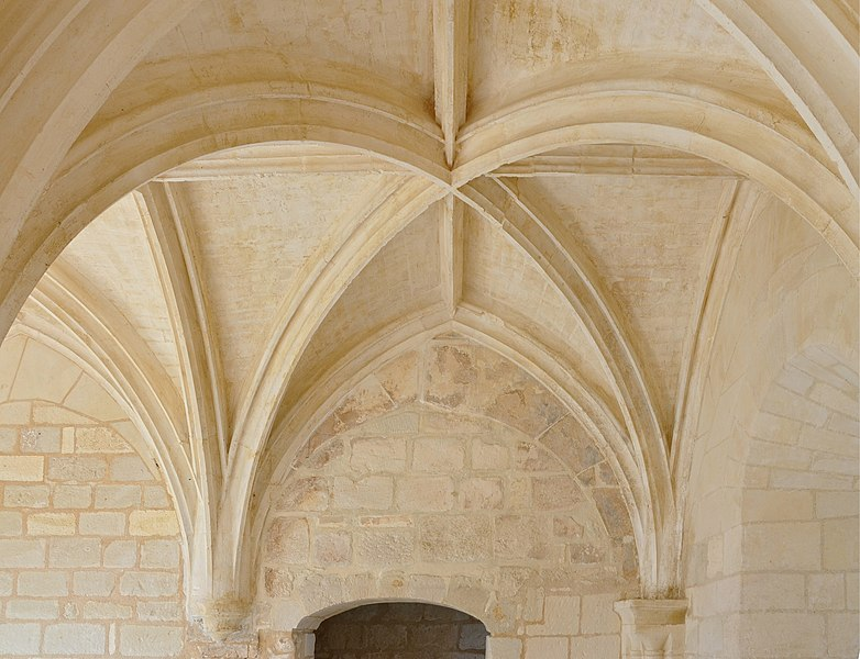 Ceiling of the chapter hall (partial view), abbey of la Frenade, Merpins, Charente, France.