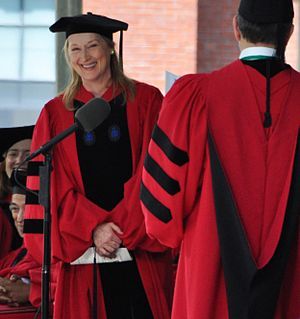 Meryl Streep receiving honorary degree from Ha...