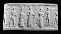Mesopotamian - Cylinder Seal with a Deity Accepting an Offering - Walters 42713